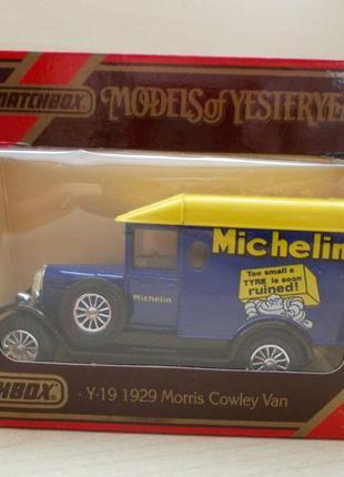 Matchbox y 19 1:43 1:47 1929 morris light van мачбокс 1988 англия шины колеса мишелин  подарок