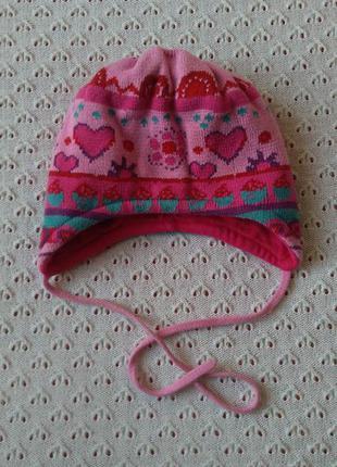 Шапочка демісезонна для дівчинки на зав'язки шапка демисезонная деми осень для девочки