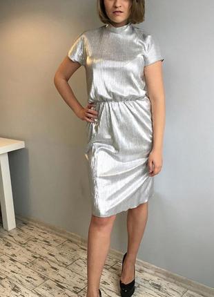 Серебряное блестящее платье шикарное вечернее новогоднее