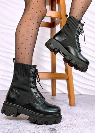 Ботинки деми, эко кожа, вязка