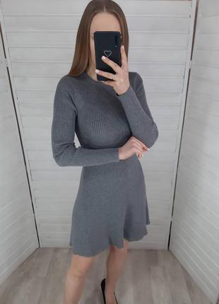 Серое платье в рубчик primark