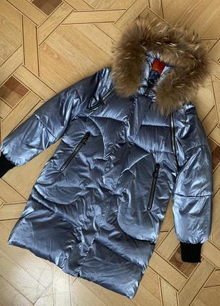 Зимняя куртка жилетка chumeng 158 см пуховик, капюшон мех металлик  холлофайбер