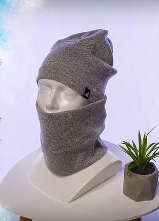 Зимний комплект шапка+бафф adidas grey