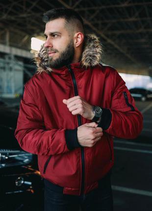 Куртка з мехом красная
