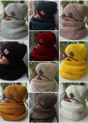Новый теплый комплект😍 шапка (утеплена флисом) и хомут 2 оборота