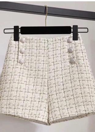Твидовые шорты с пуговицами спереди и молнией сзади
