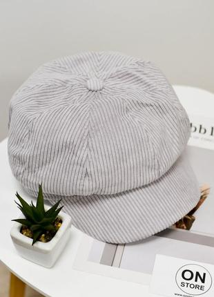 Модный женский кашкет кепка серого цвета
