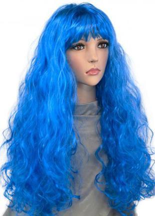 Парик маскарадный синие длинные волнистые волосы +подарок
