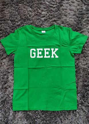 Женская футболка geek женская с рукавом зеленая, размер