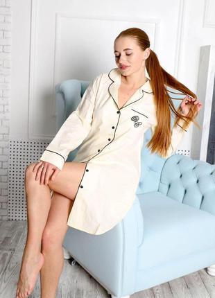 Хлопковая женская рубашка длинная с длинным рукавом для дома и сна домашняя одежда и цвет желтый