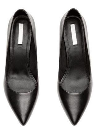 Туфли лодочки классические черные кожа