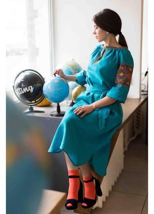 Вишите плаття  кольору морської хвилі