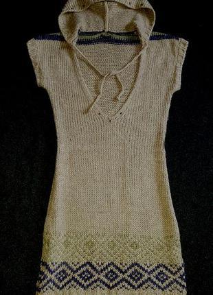 Туника (платье) с капюшоном, в составе шерсть, sisley
