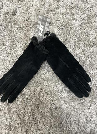 Женские  тёплые перчатки  gh из натуральной замши