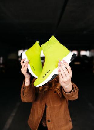 Женские кроссовки без шнурков balenciaga  speed trainer «yellow bb»