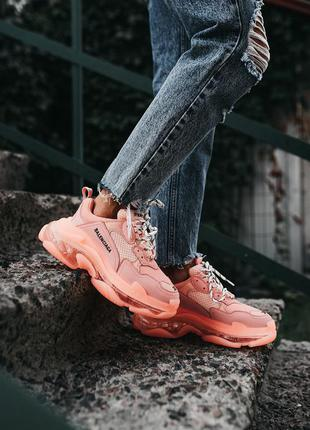 Женские кожаные кроссовки balenciaga triple s «pink»