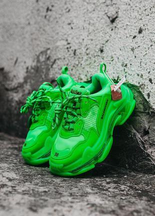 Женские кожаные кроссовки balenciaga  «neon green»