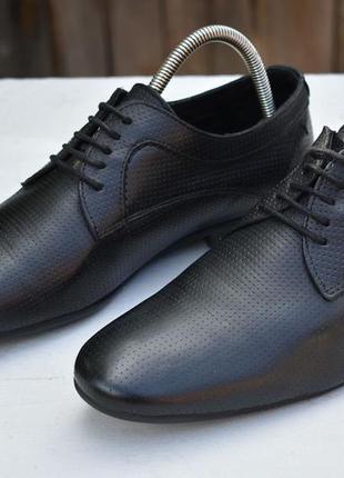 Zara man мужские туфли черные кожаные размер 42