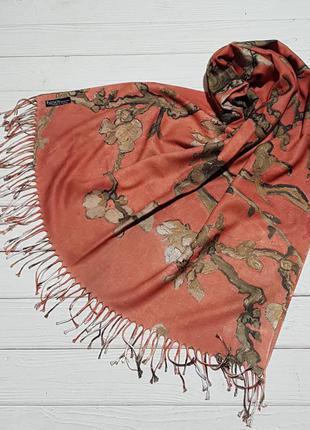 Шарф палантин женский на осень на зиму с рисунком с двух сторон
