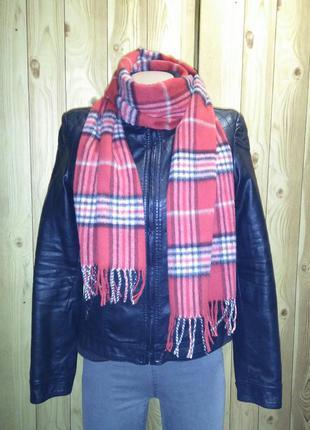 Шикарный новый шерстяной (кашемировый) шарф. большой, красный в клетку 30*180 см.