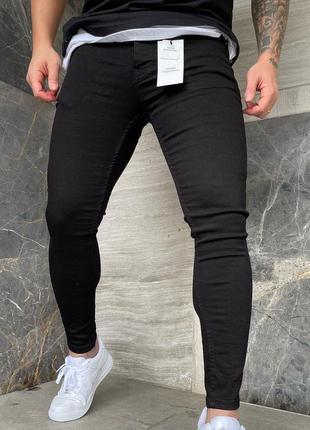 Мужские черные джинсы зауженные укороченные