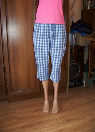 Хлопковые клетчатые домашние или пижамные укороченные брюки elen amber