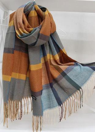 Кашеміровий двосторонній шарф-палантин у клітинку