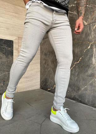 Мужские джинсы зауженные скини серые