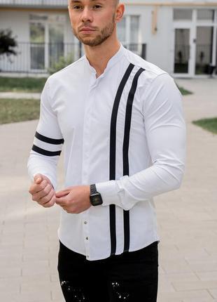 Мужская рубашка белая с черными полосами