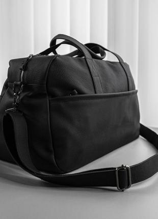 Мужская черная сумка из натуральный кожи ручной работы