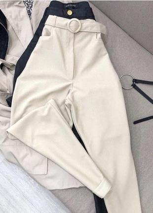 Светло-бежевые брюки в рубчик от new look на очень высокой посадке