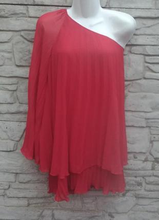 Распродажа!!! нарядная плиссированная блуза на одно плечо с длинным рукавом topshop