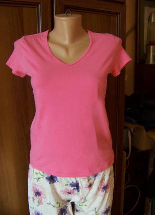 Хлопковая розовая футболка marks & spencer s