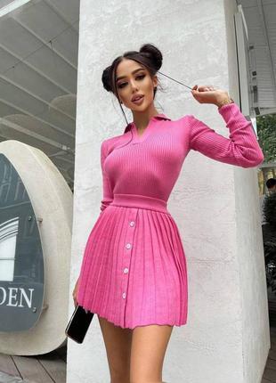 Костюм юбка+поло с длинным рукавом
