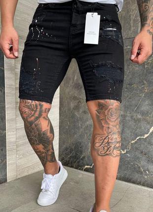 Мужские шорты джинс черные потертые