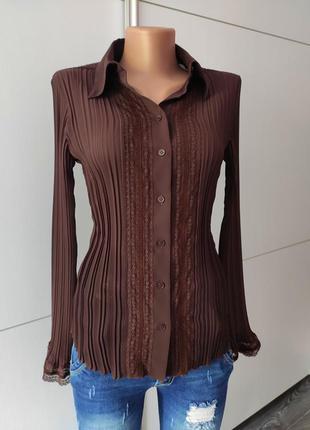 Блуза рубашка коньячного цвета плиссе от next