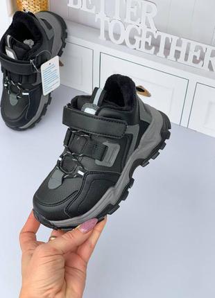 Ботинки зима кроссовки на меху на липучке светоотражающие вставки