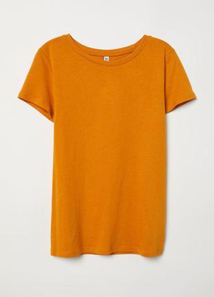 Горчичного цвета футболка хлопок