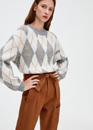 Стильный жакардовый свитер аргайл принт от pull&bear s/36