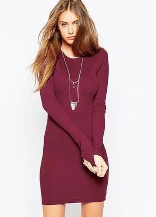 Срочная распродажа! бордовое трикотажное платье в обтяжку с рукавами