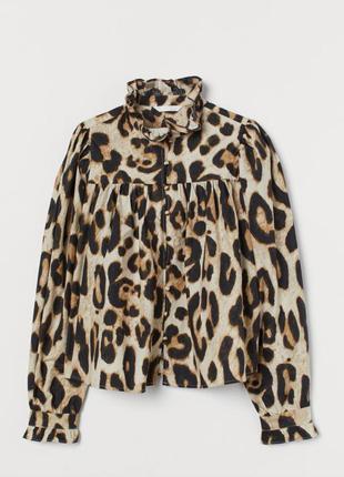 Котоновая обьемная нарядная блуза рубашка со стоечкой 🐆от h&m s/36 прінт леопард