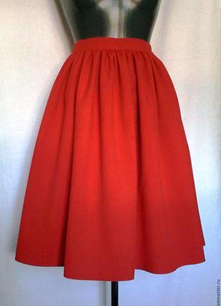 Новая красная юбочка в сборку, размер с м л хл.