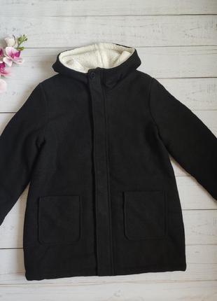 Драповое утепленное пальто с капюшоном и накладными карманами ovs италия р. 152 на 11-12 лет шерстяное еврозима