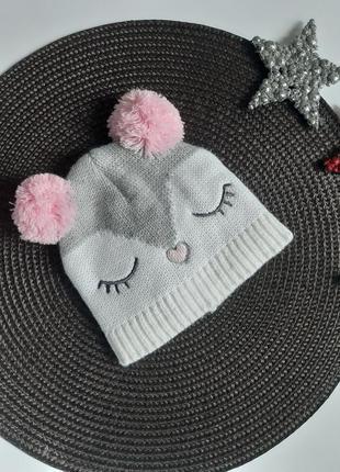 Демісезонна шапочка совушка на дівчинку 3-6 місяців