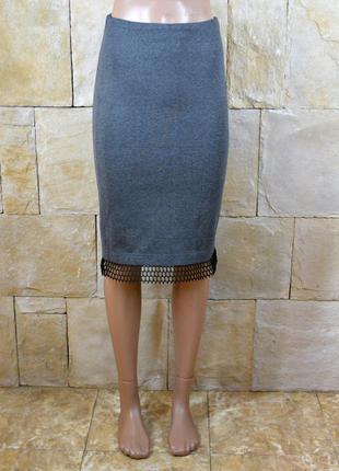 Базовая юбка карандаш с вставкой из сетки украинского бренда purple