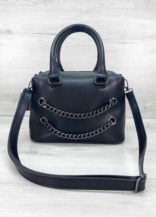 Женская сумка черная сумка среднего размера сумка с длинным ремешком сумка через плечо