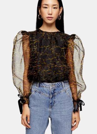 Шикарная блуза от topshop органза с обьемными рукавами черный леопард 🐆xs-s/34-36