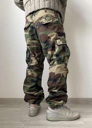 Винтажные мужские карго штаны carhartt camo cargo pants милитари