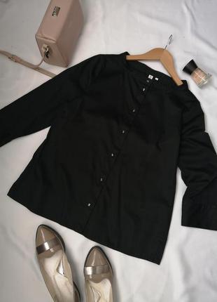 Красива базова чорна блузка сорочка натуральна хлопкова
