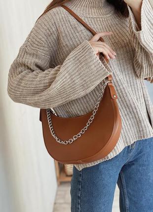 Рыжая сумка полукруглая сумка с цепочкой сумка с цепью кроссбоди сумка тарракотовая сумка